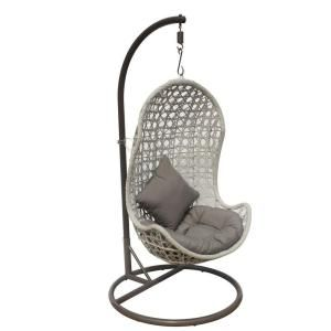 Jlip White Wash Rattan Patio Hanging Chair With Stand And Tan