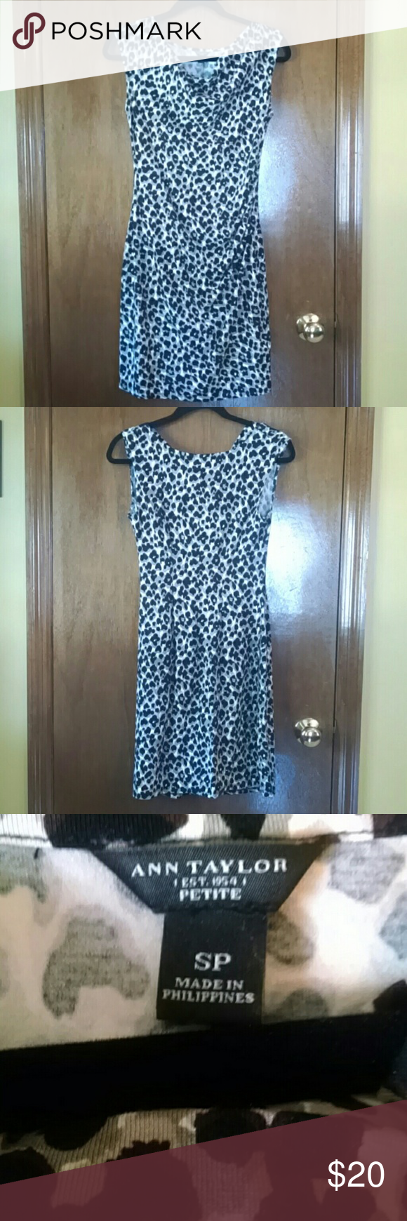 Ann Taylor Animal Print Sheath Dress This is an animal print sheath dress by Ann Taylor.  Size is Small Petite. The neckline is weighted to keep the fabric in place. Ruched side. The fabric stretches nicely to fit your form. Excellent condition.  93% Rayon, 7% Spandex. Ann Taylor Dresses