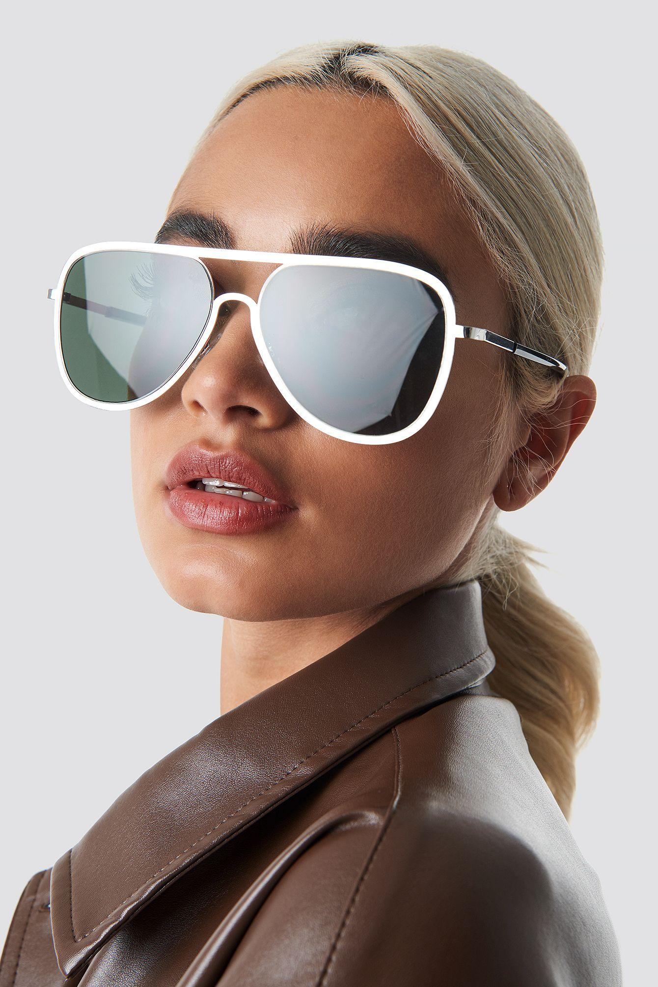 3ca2813270e48 NA-KD Accessories Metal Frame Pilot Sunglasses - Green