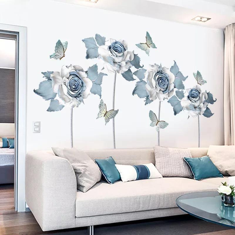 4 x Flowers wall sticker home decoration Lovely wall art mural decal XL