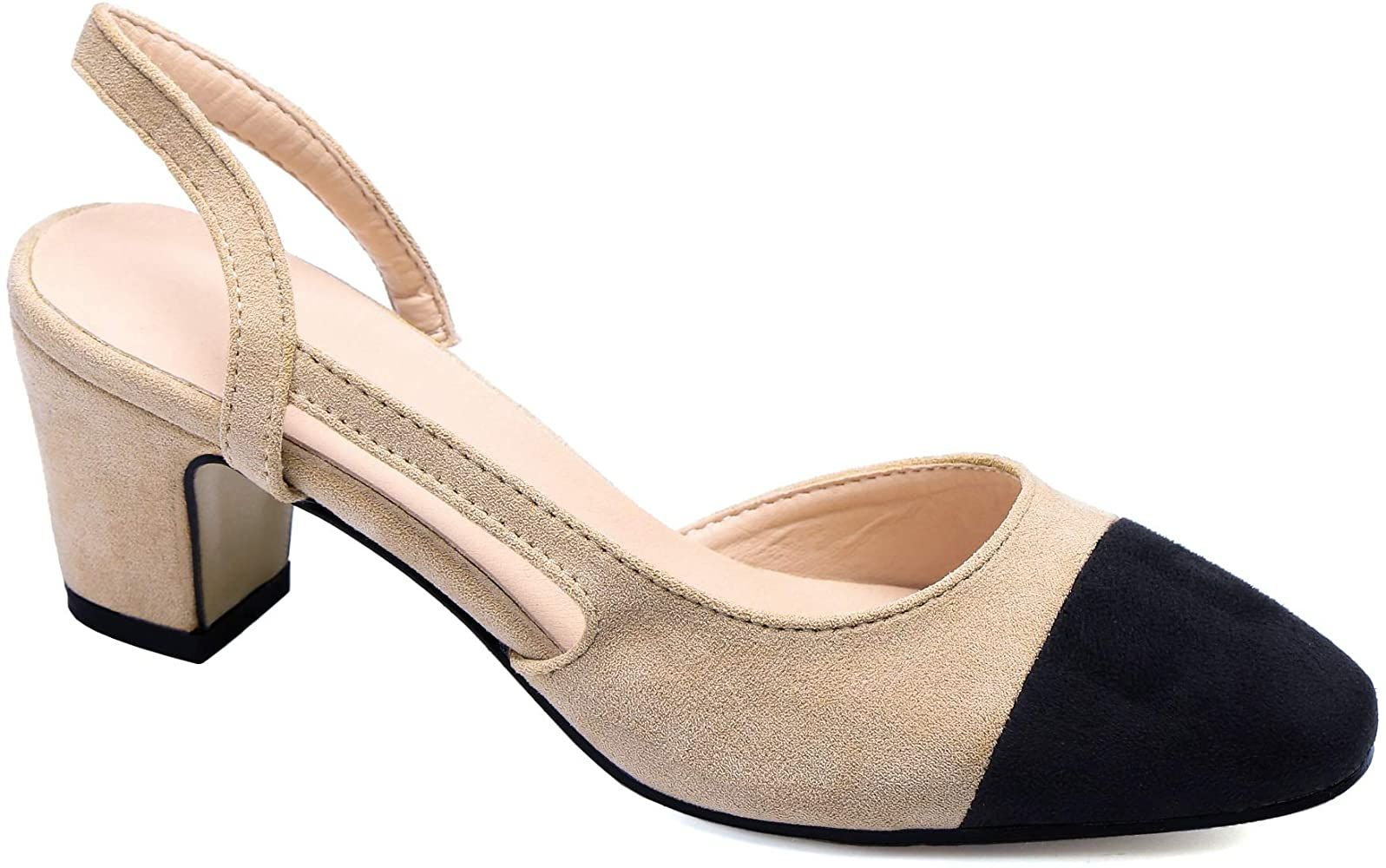 Greatonu Womens Court Shoes DOrsay Ankle Strap Low Kitten Heel Shoes