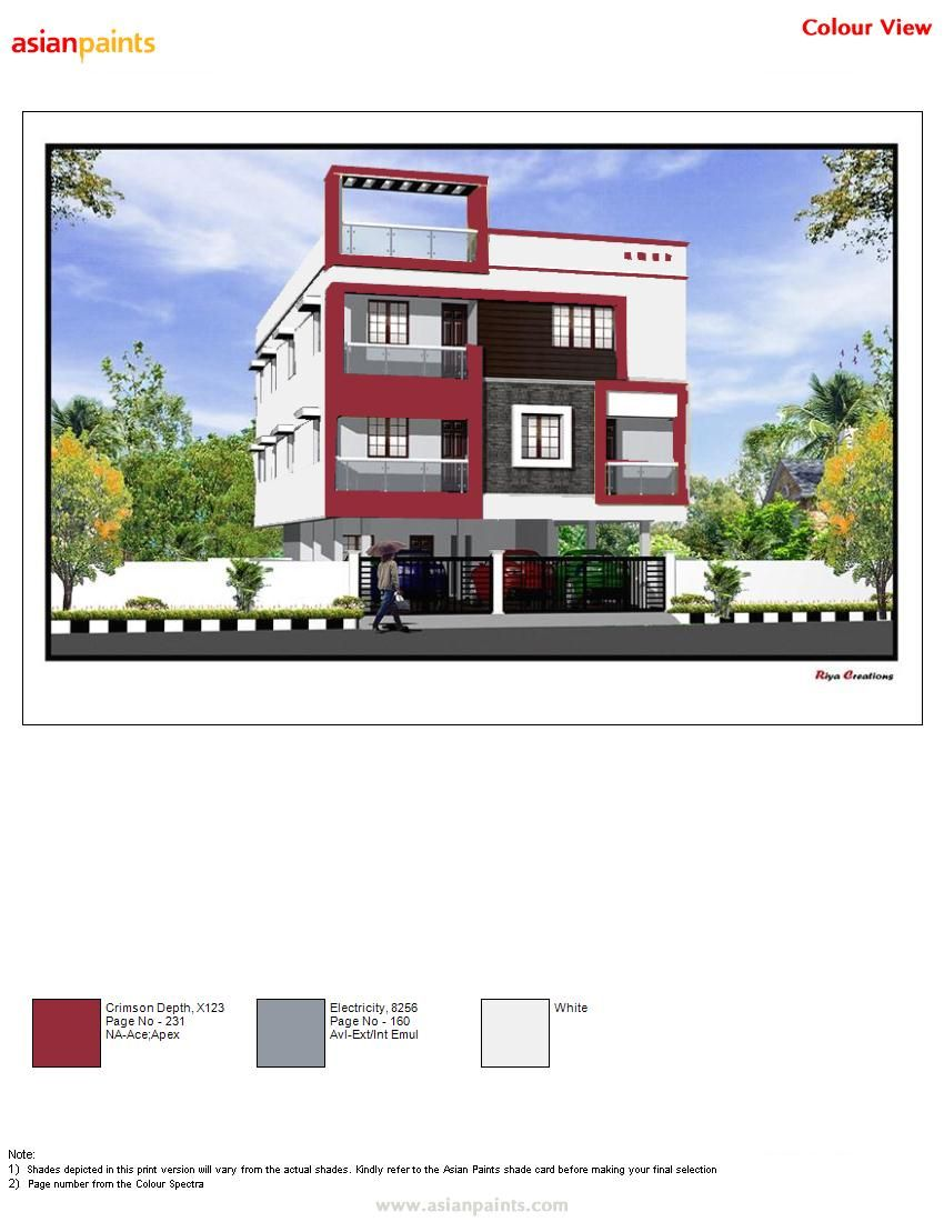 Pin By Hemapreethi On New Exteriors Exterior Color Combinations Asian Paints Colour Shades Exterior House Colors