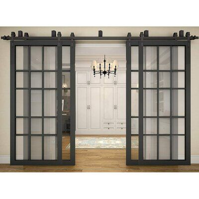 Winsoon Sliding Bypass Barn Door Hardware Kit Track Length 120 In In 2020 Bypass Barn Door Glass Barn Doors Interior Bypass Barn Door Hardware
