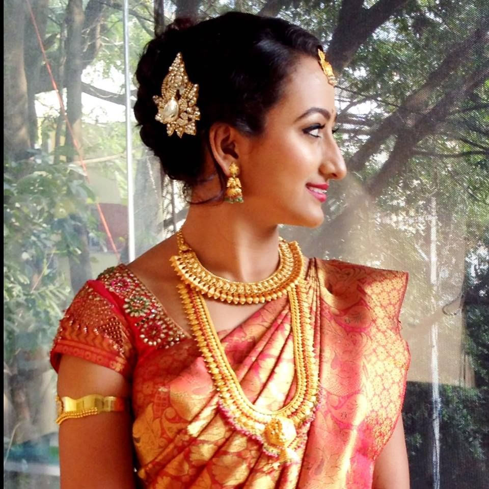 indian bride's reception hairstyle created by swank studio