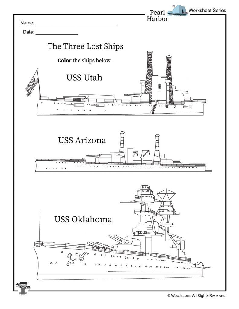 Pearl Harbor Ships Coloring Page | Teaching american ...