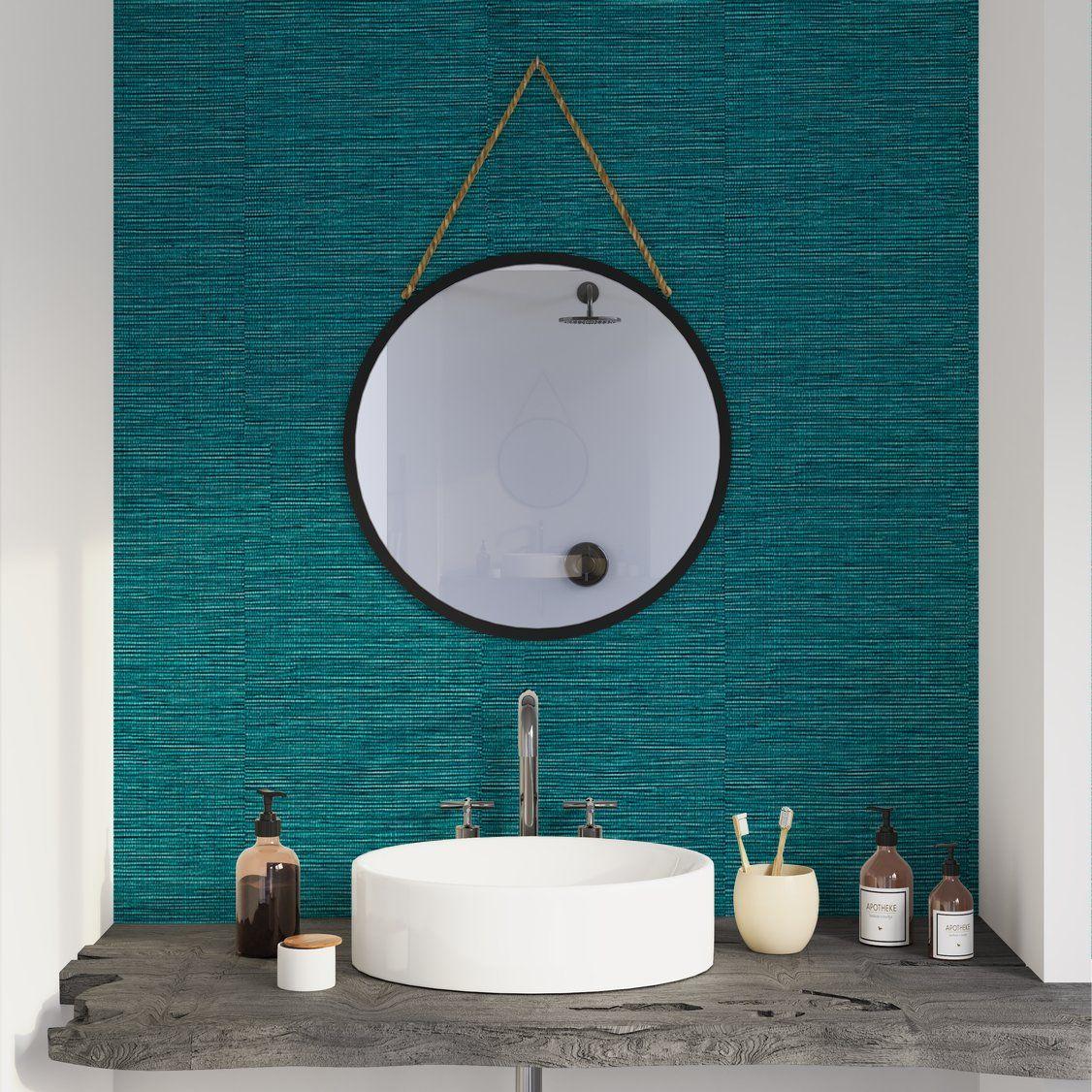 Papier peint intissé CURAÇAO coloris bleu pétrole  Miroir salle