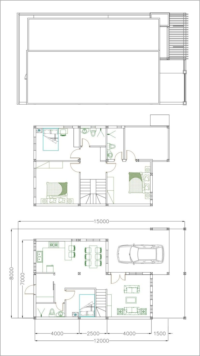 House Plans 7x12m With 4 Bedrooms Plot 8x15 Sam House Plans Home Design Plan House Plans Model House Plan