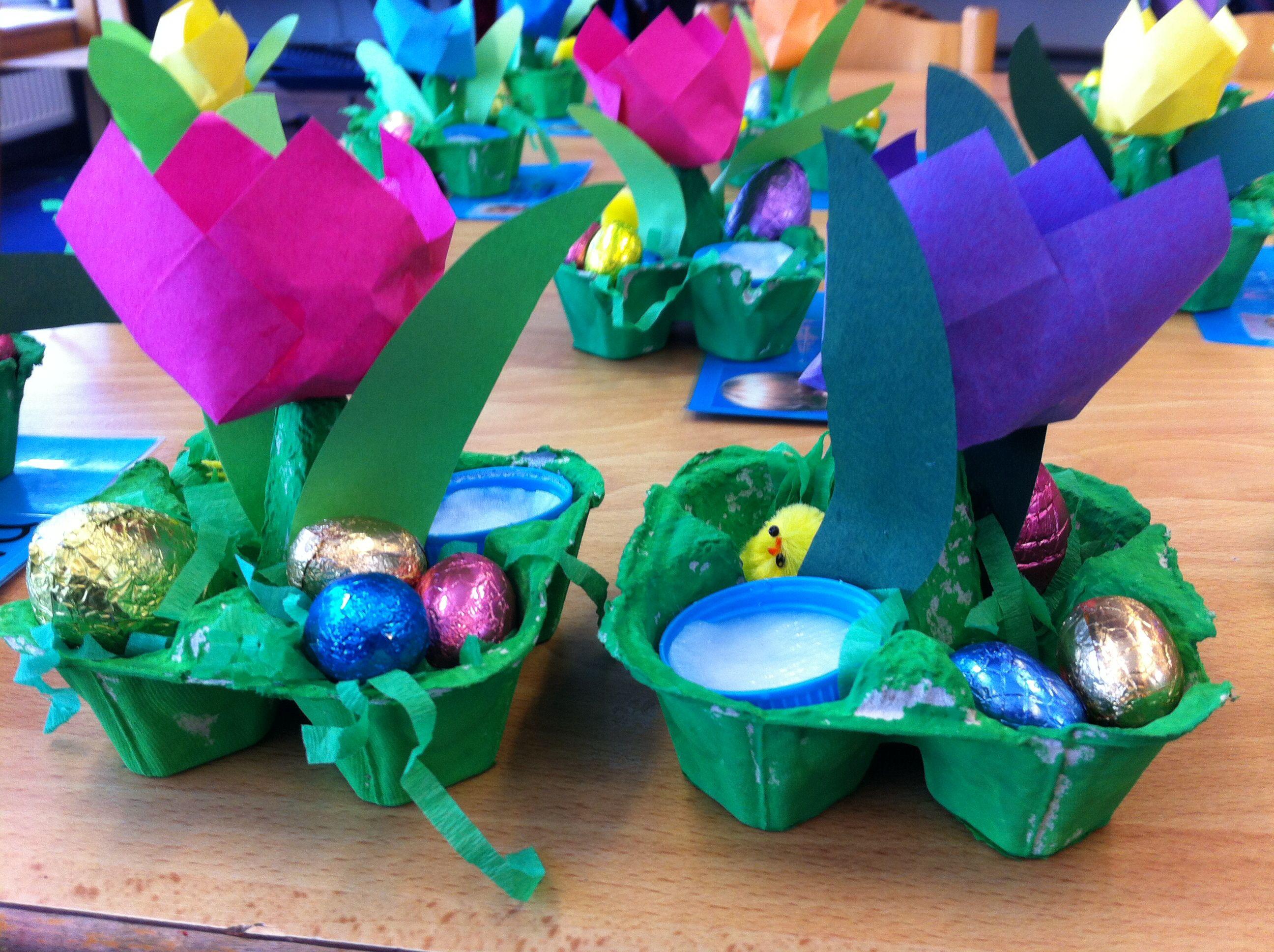 Paasbakje: tuintje met eitjes, tulp en tuinkers   easter   Pinterest ...