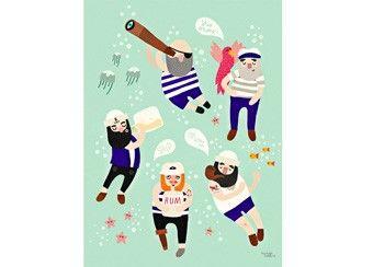 Komisches 'Sailor friends' Poster 30x40cm Michelle Carlslund Illustration   Kindershop Das Kleine Zebra
