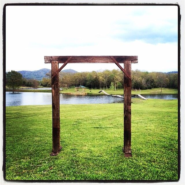 Railroad Tie Arbor For A 2014 Spring Wedding At The