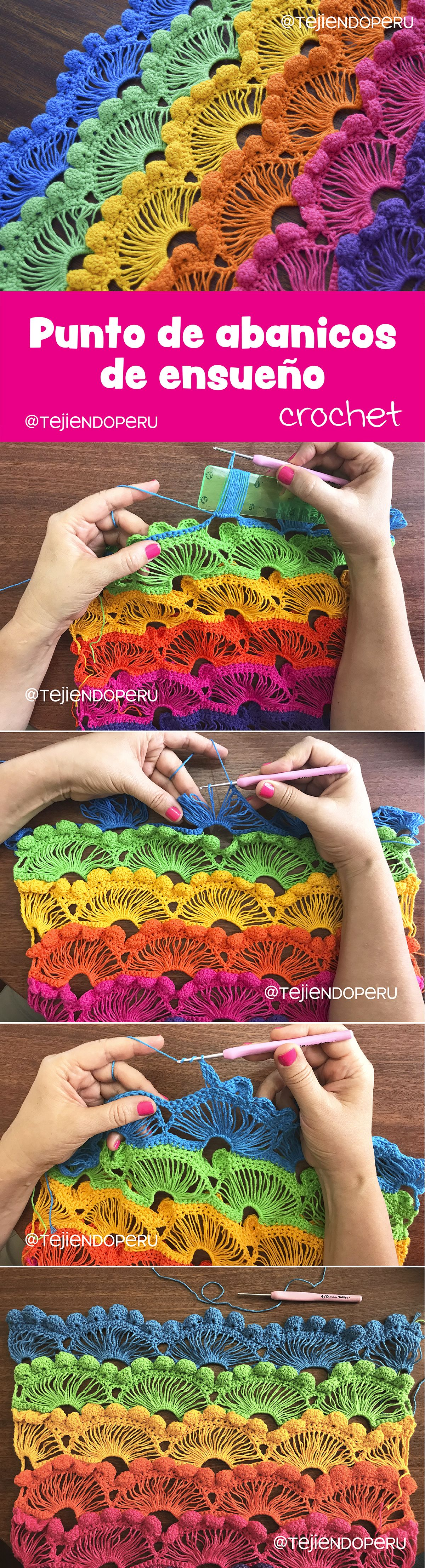 Punto de abanicos de ensueño tejido a crochet paso a paso... ¡fácil ...