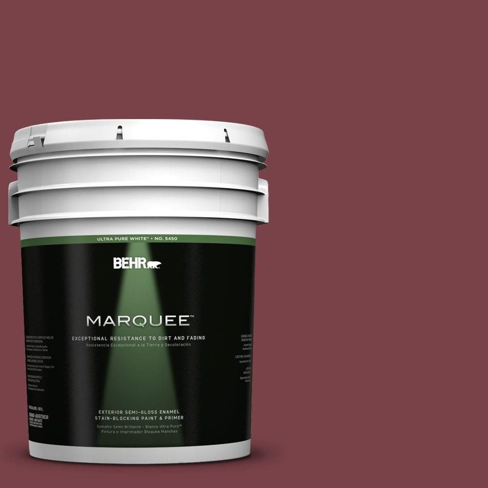 BEHR MARQUEE 5-gal. #PPU1-13 Spiced Wine Semi-Gloss Enamel Exterior Paint