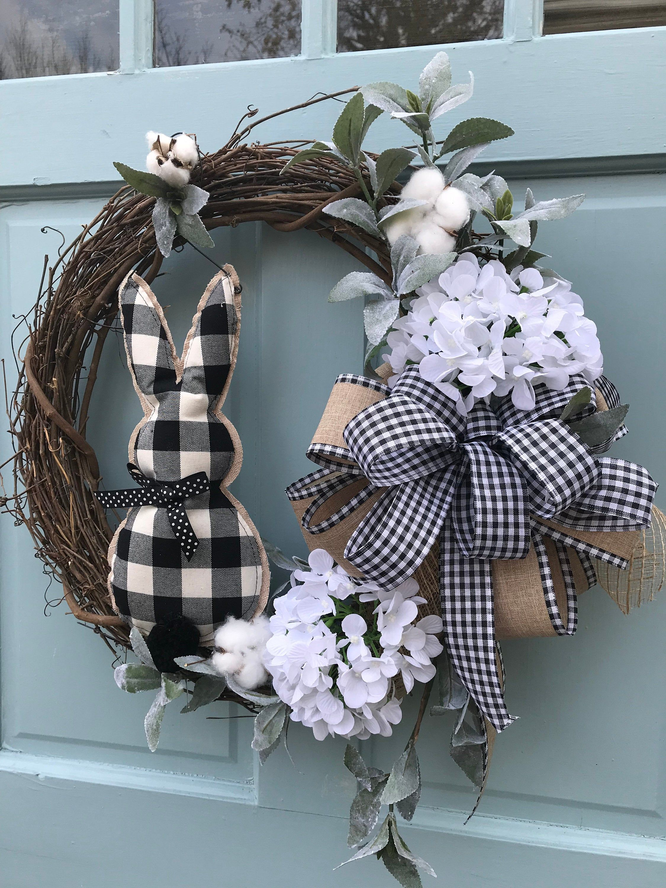 Photo of Farmhouse white cotton Summer Grapevine Wreath for Door, Wreaths, wreath for front door, Farmhouse wreath for front door, Lambs Ear Wreath