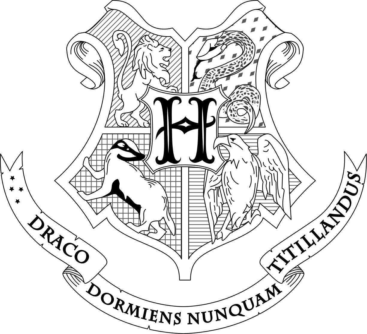 File Hogwarts Coat Of Arms Lines Svg Harry Potter Symbols Harry Potter Colors Harry Potter Coloring Pages