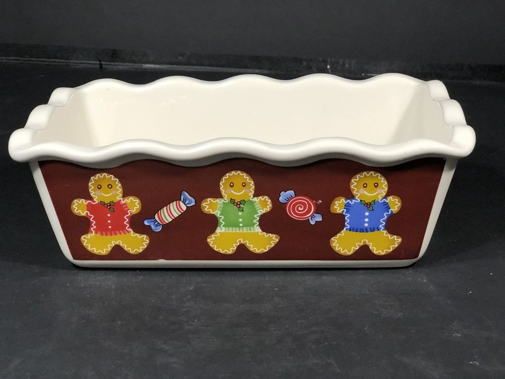 "Loaf Pan Christmas 3 Gingerbread Men And Candy 9 3//4/""L x 5 1//2/""W x 3 1//2/""H NEW"