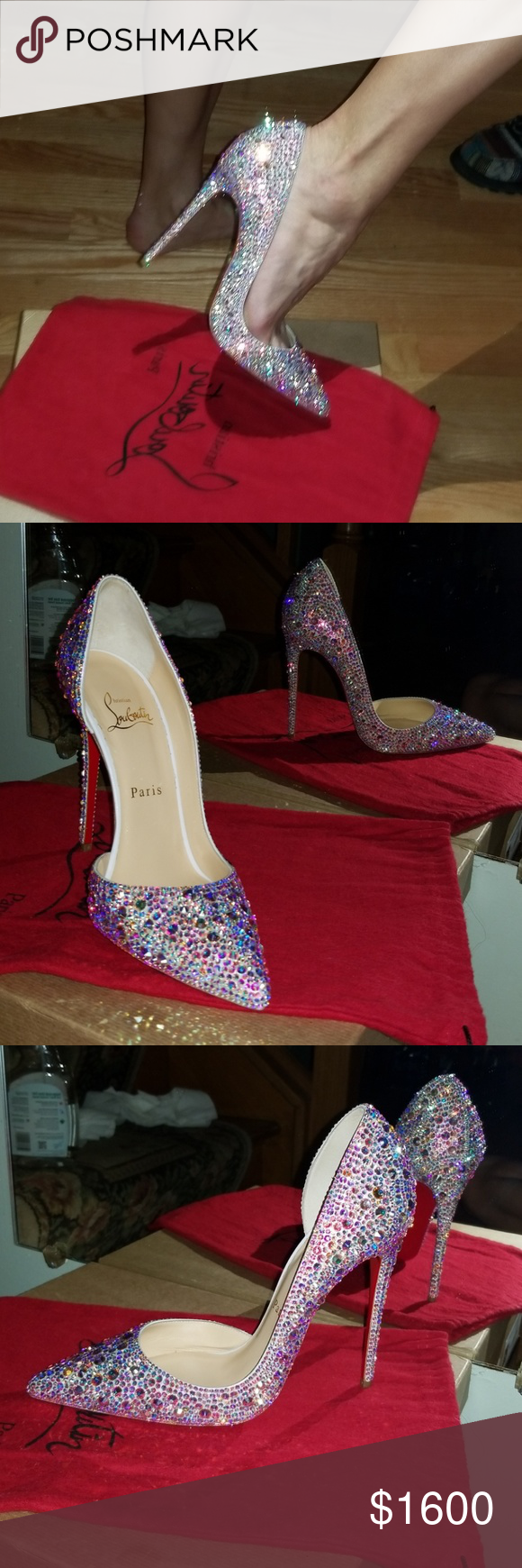 premium selection 3005a 4a3d0 Christian louboutin iriza Swarovski strass heels Authentic ...