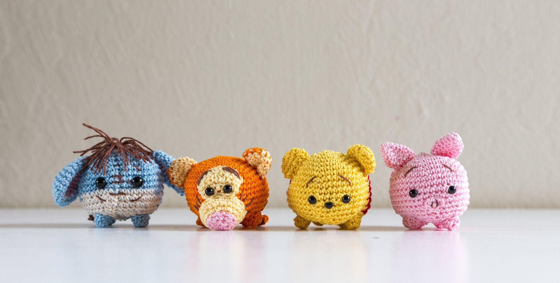 Tsum Tsum Amigurumi Pattern Free : Eeyore tigger pooh bear and piglet tsum tsum crochet amigurumi