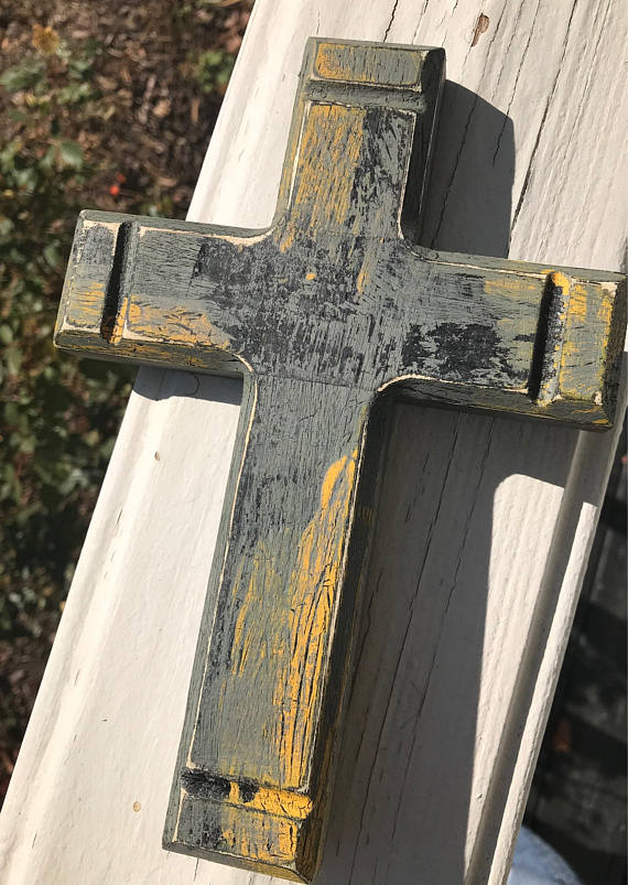 Rustic Distressed Cross Black Yellow Gray Cross Wall Decor