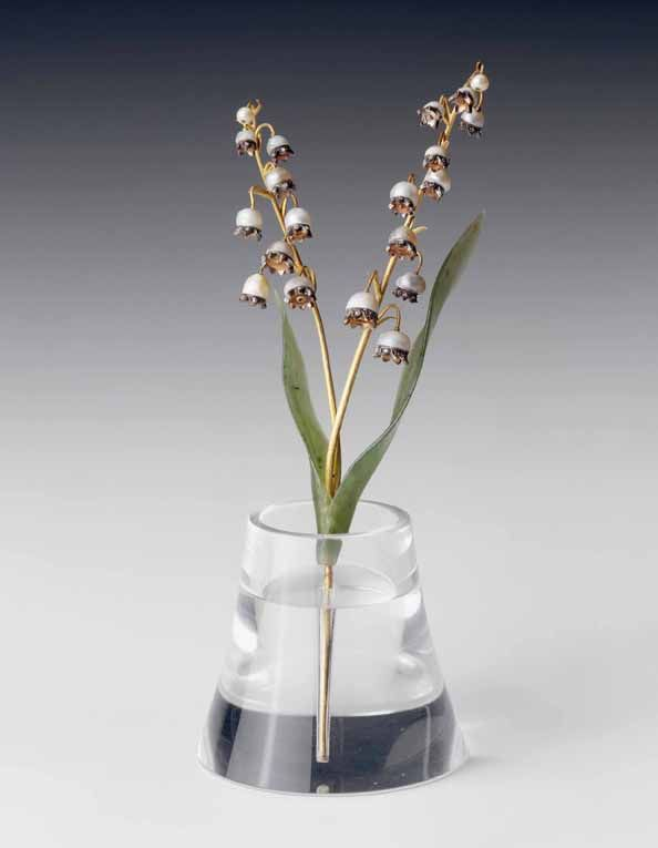 Spray of Lily of the Valley in rock crystal vase by Faberge.