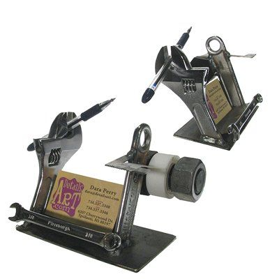 Recyclart Thousands Of Upcycled Recycled Diy Ideas Metal Art Projects Scrap Metal Art Business Card Holders