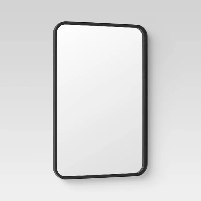 24 X 30 Rectangular Decorative Wall Mirror With Rounded Corners Black Project 62 In 2020 Mirror Wall Decor Mirror Wall Round Corner