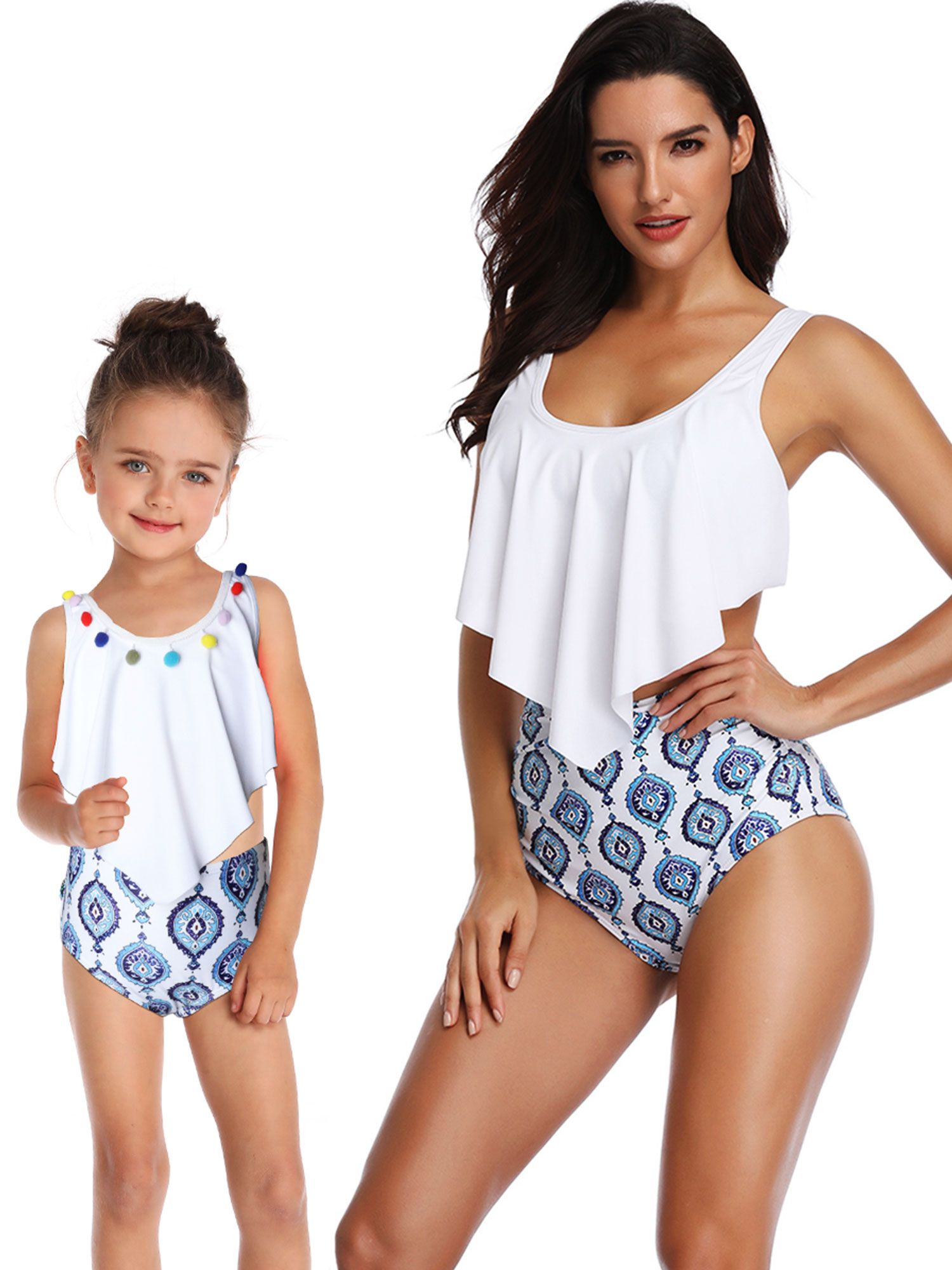bf59685617b Mother Daughter Family Matching Swimwear Swimsuit Bathing Suit Beachwear  High Waist Bikini Women Girls Baby Kids Summer #Ad #Swimsuit, #AD, #Swimwear,  #Suit