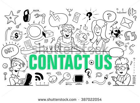 Contact Us Funny >> Green Letters Contact Us In Doodle Style Group Of Funny