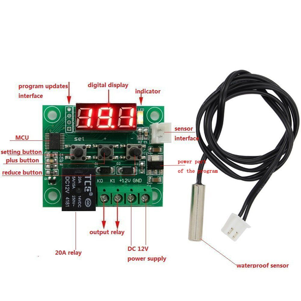 Chenbotm3 Pack 12v Dc Digital Cooling Heating Thermostat Temp