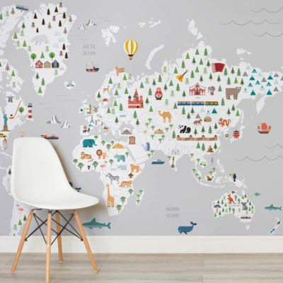 Grey ultimate kids map square ideas pinterest squares our world map wallpaper helps create an amazing world map mural in any room inspiring you to live beyond your own four walls gumiabroncs Choice Image