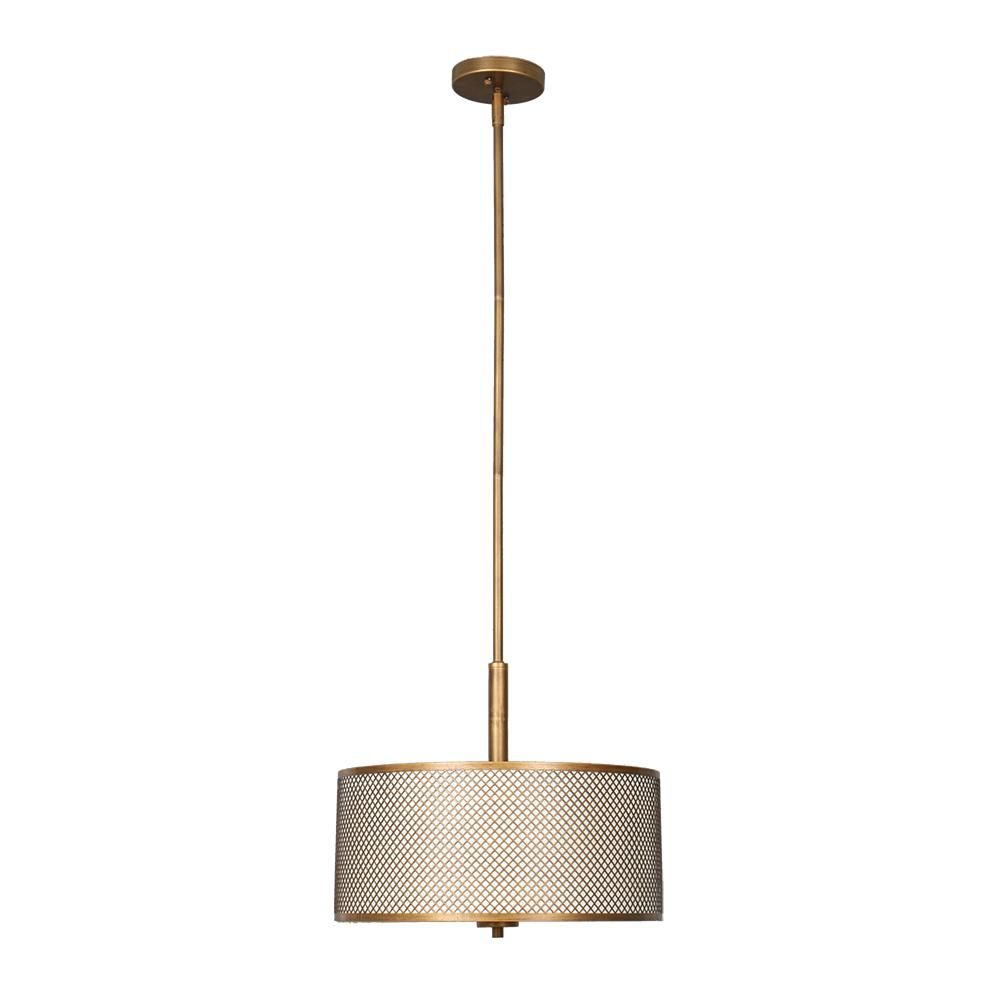 Home Decorators Collection 3-Light Matte Gold with Cream Fabric Shade Pendant