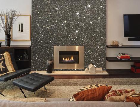 Gunmetal grey glitter wallpaper featured on a chimney for Sample wallpaper for living room