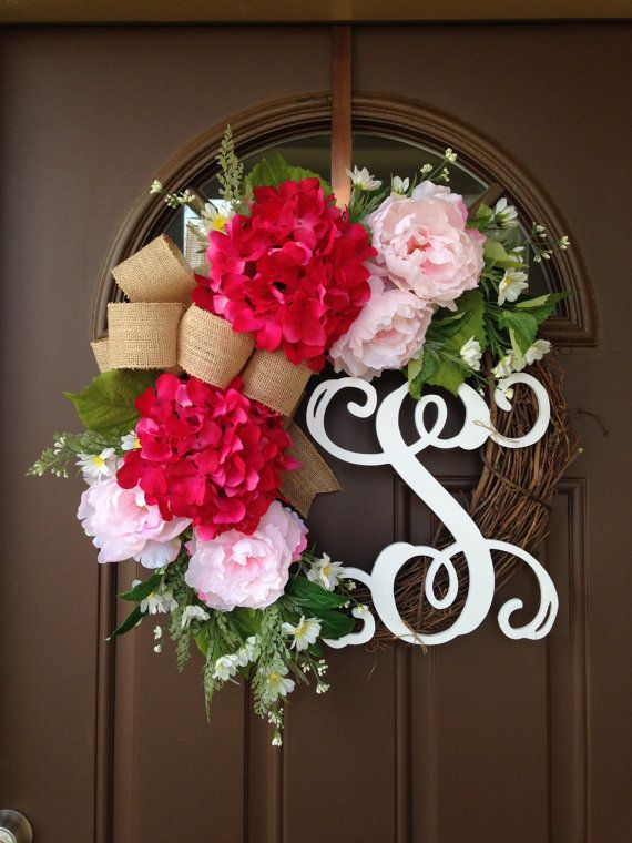 Wreath Hydrangea Wreath Wreaths For Front Door Front By Flowenka