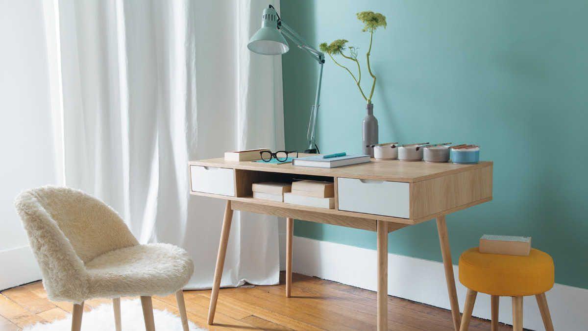 Bureau scandinave bois clair bleu pastel maisons du monde bureau