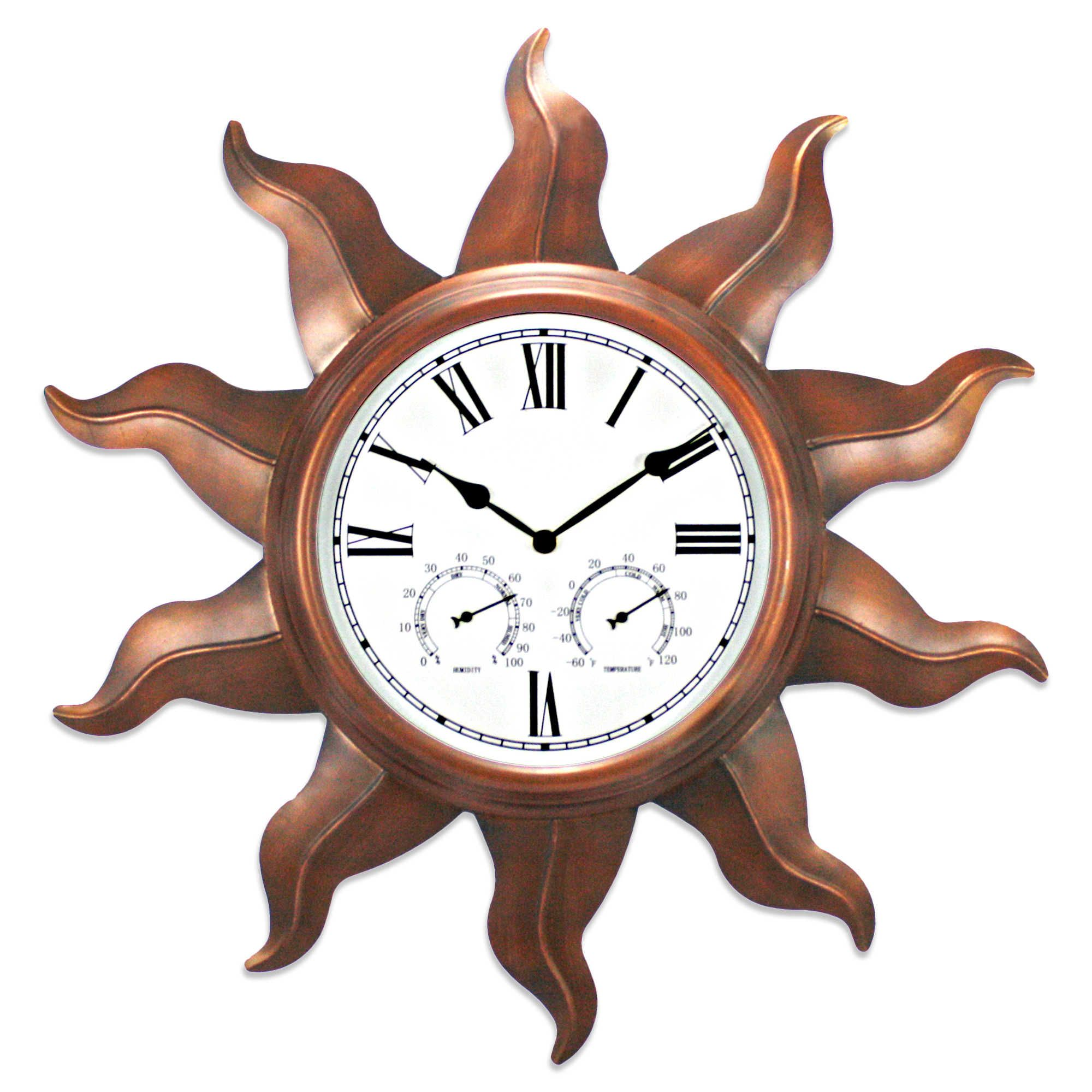 Copper Sun 24-Inch Indoor/Outdoor Clock | Outdoor Clock Ideas ...