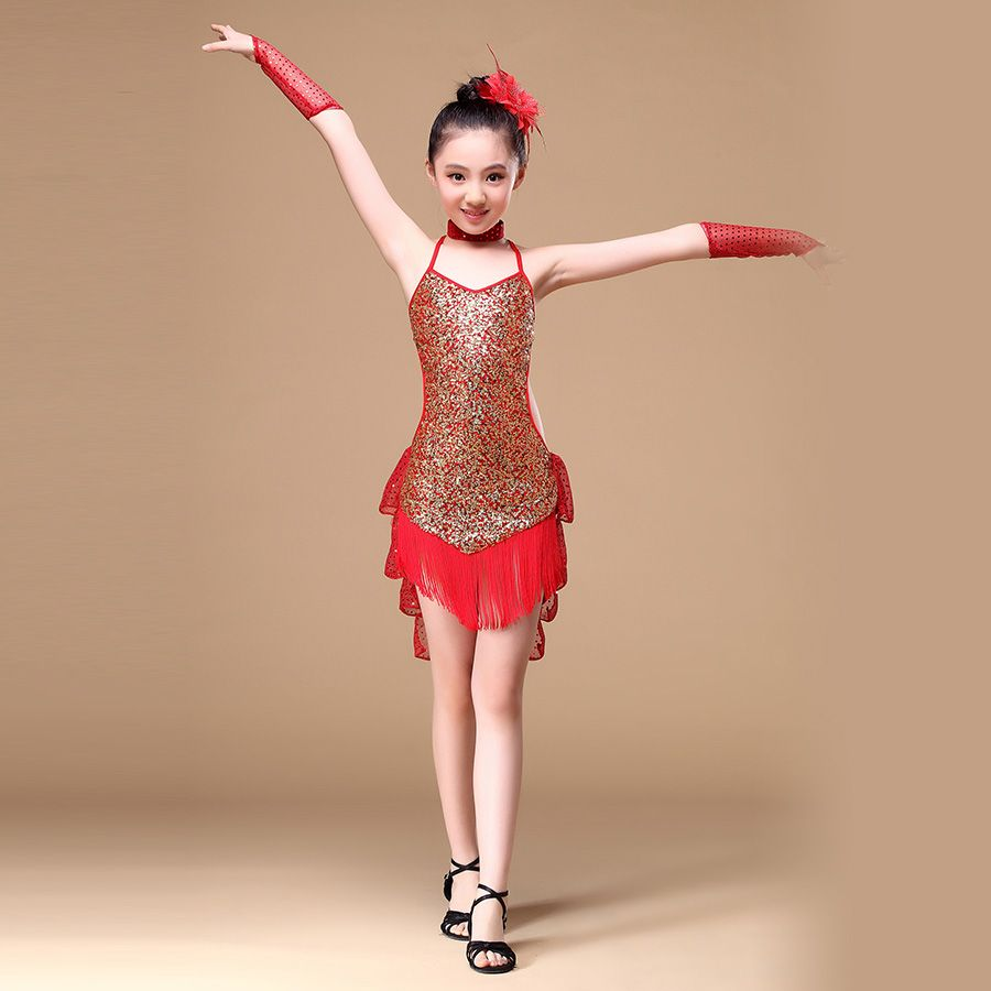 5-5 Years Children Dance Outfit with Sleeves Sequins Latin
