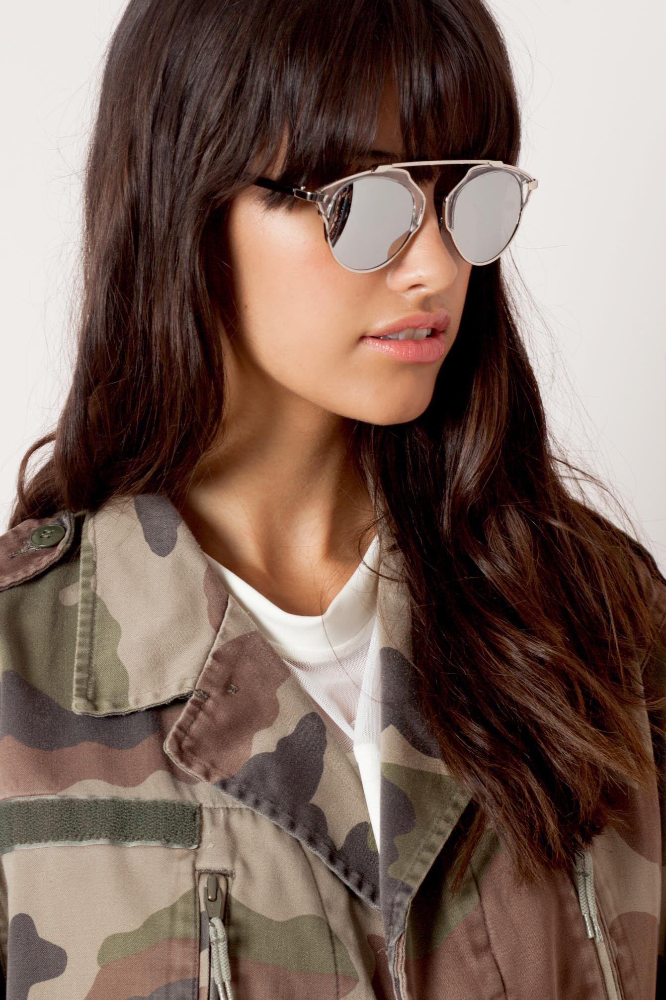 Gafas de sol plateado Real Deal Look casual chic, Gafas