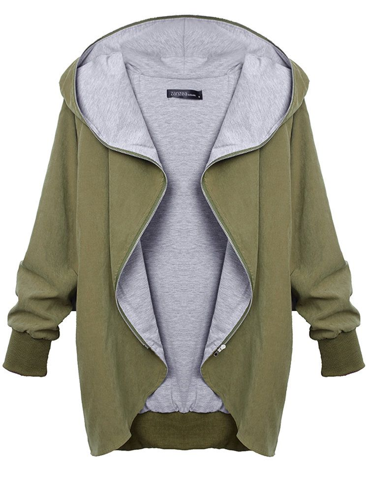 792c69e942c Women Autumn Casual Hooded Large Size Thin Jackets Outerwear Coat -  Banggood Mobile