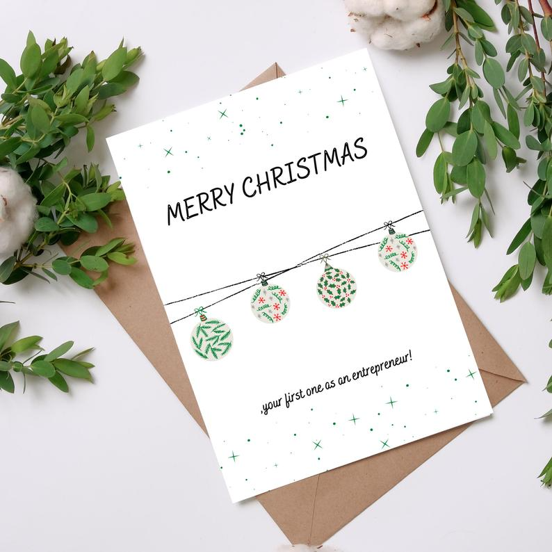 Printable Christmas Card New Venture Card Merry Christmas Etsy Business Christmas Cards Printable Christmas Cards Business Christmas
