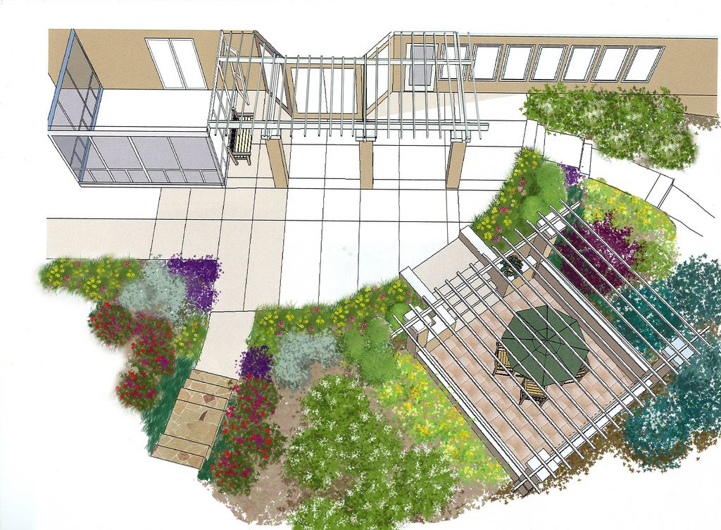Photoshop Planted Sketchup Model Garden Design Layout Landscaping Scandinavian Garden Sketchup Model