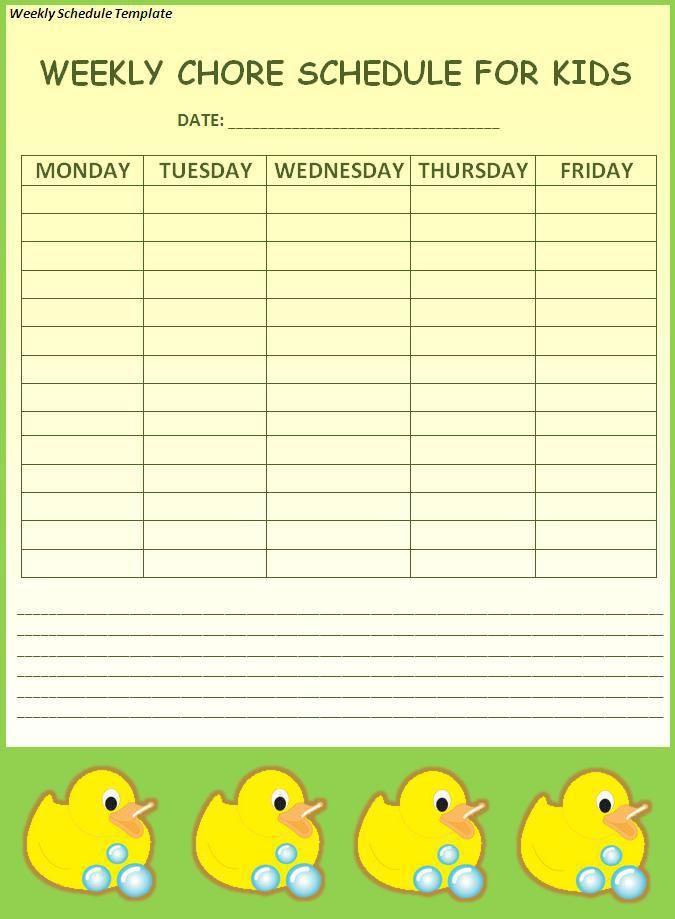 Weekly-Schedule-Template wordstemplates Pinterest Schedule - weekly schedule template