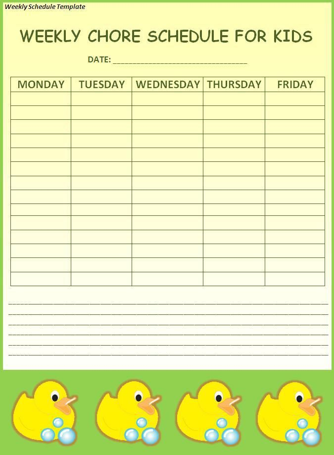 Weekly-Schedule-Template wordstemplates Pinterest Schedule - dsi security officer sample resume