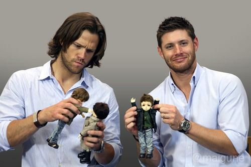 Jared and Jensen... i heart that the sam doll is punching the cas doll