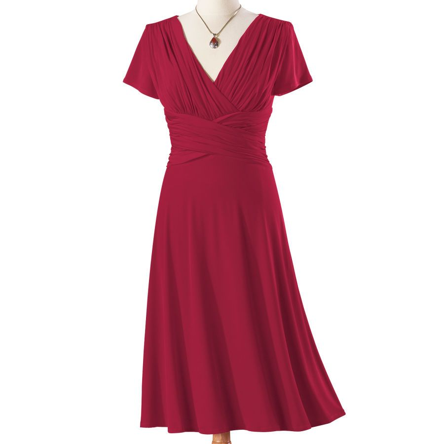 Red Ruched Waist Dress -NorthStyle