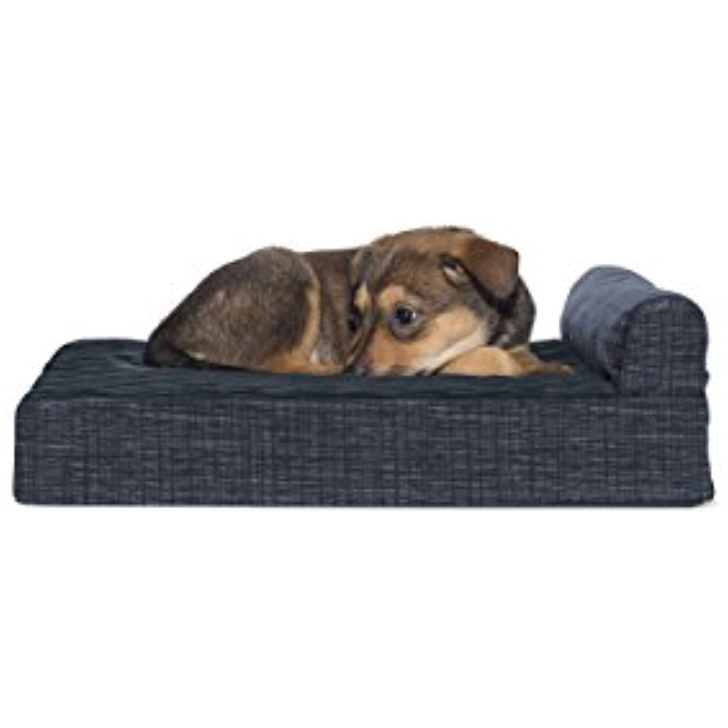 Furhaven Memory Foam Suede Chaise Lounge Pet Bed For Dogs And Cats Dark Blue Small You Can Find Out More De Dog Pet Beds Couch Pet Bed Orthopedic Dog Bed