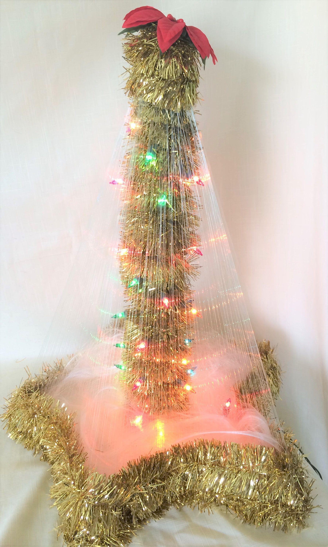 Unique Christmas Light Up Tree Angel Hair Tinsel Star Lights