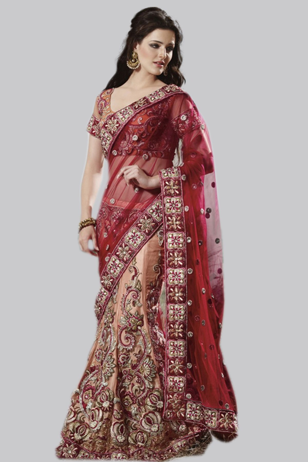Lehenga Style #Red Saree | INDIA FANS | Pinterest | Kleider