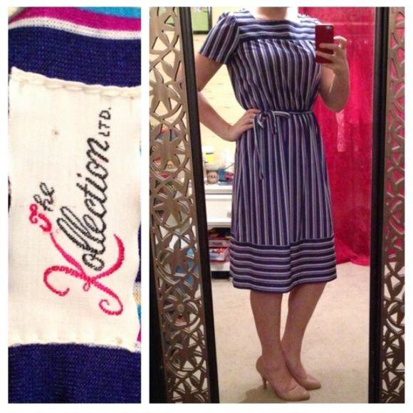 """Vintage Blue & Purple Striped Dress This classy retro vintage dress from The Kollection is blue, white, yellow, and purple striped with short sleeves and button details. It comes with a fabric belt to """"tie"""" together the look. Fits around a modern size small. Vintage Dresses"""