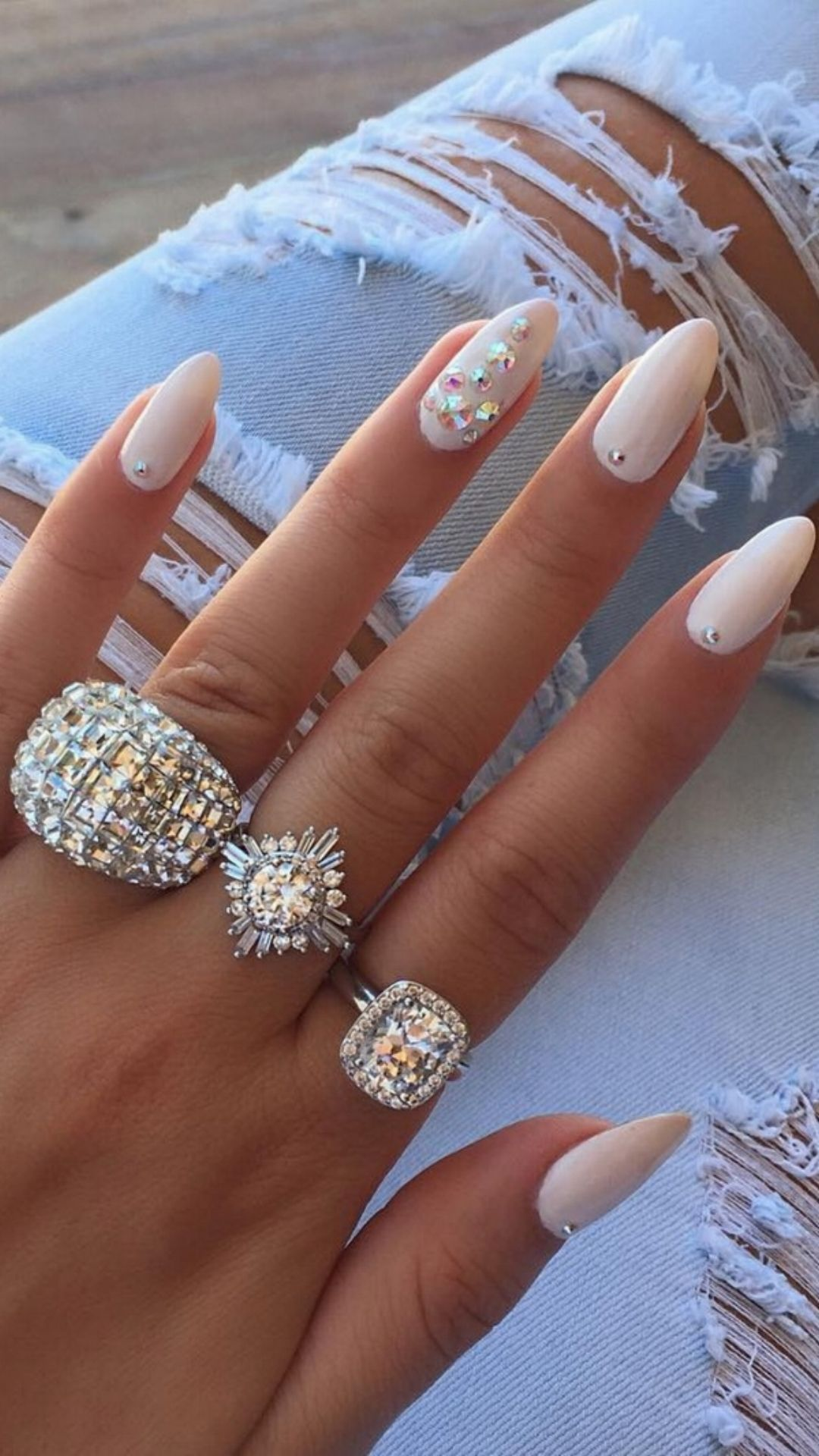 White Nails For Greece Whitenails Nails Notd Swarovskicrystals Realnails Mynails Rings Bling Like Je Classic Nails Nail Jewelry Nail Art Designs