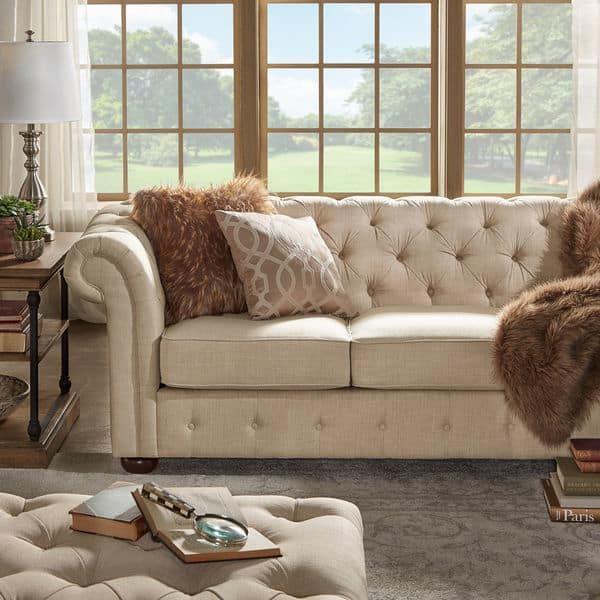 Charming Farmhouse Decorating Ideas Chesterfield sofa