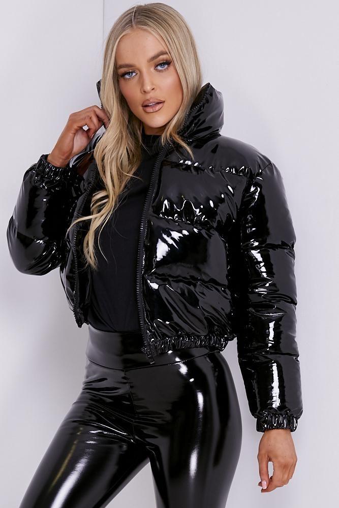 Black Vinyl Cropped Puffer Jacket Lasula In 2020 Lack Kleidung Lederjacke Kleid Ausgefallene Mode